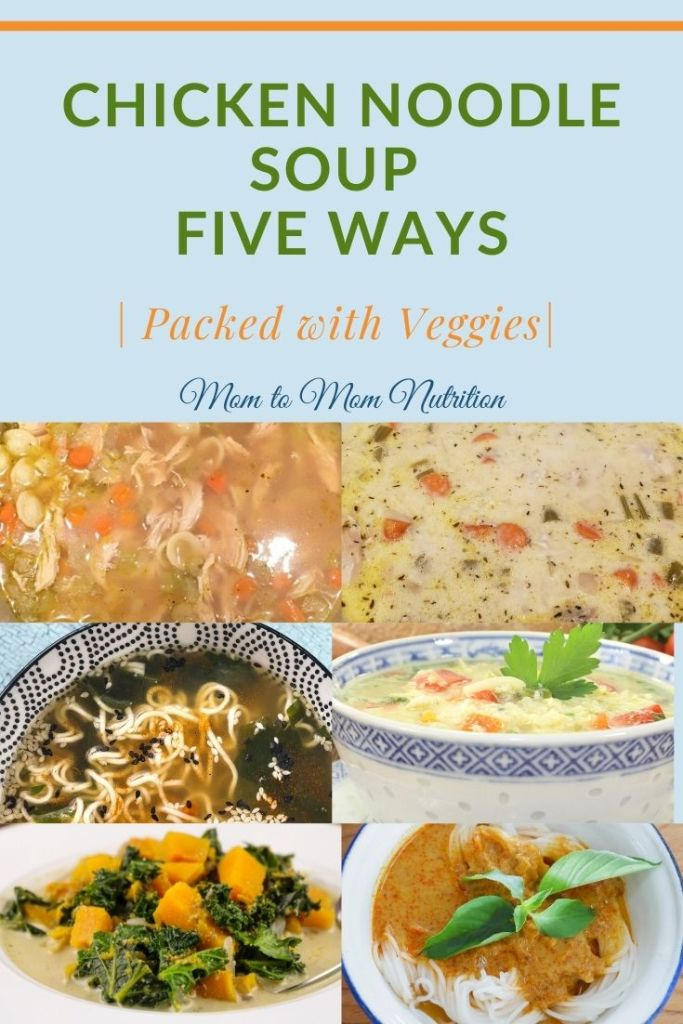 Chicken Noodle Soup Five Ways--- discover deliciously creative and easy to prepare variations on the classic comfort soup. #chickennoodlesoup #thebestchickennoodlesoup #homemadechickennoodlesoup #mealpreprecipes #healthysouprecipes