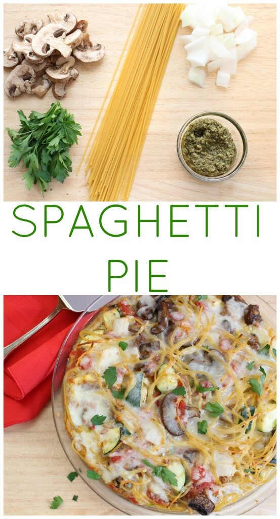 Spaghetti pie is a kid-friendly, calorie-friendly pasta dish baked right in pie dish. Be sure to toss the spaghetti with your family's favorite pasta add-ins, such as fresh veggies, before baking. #PastaFits #Ad