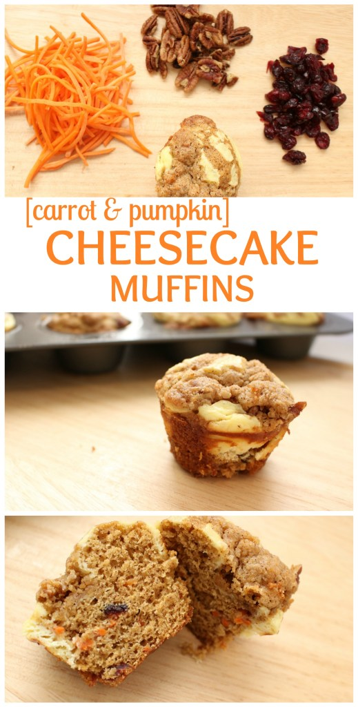 Carrot Pumpkin Cheesecake Muffins are moist, flavorful muffins filled with flavors of the fall and a few simple ingredients like shredded carrots, cream cheese, and pumpkin bread mix.