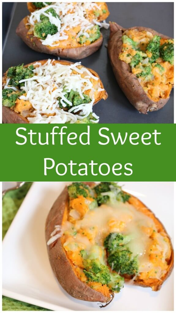 Stuffed sweet potatoes are filled and baked with veggies and cheese, making an easy weeknight meal or healthier side for Thanksgiving dinner.