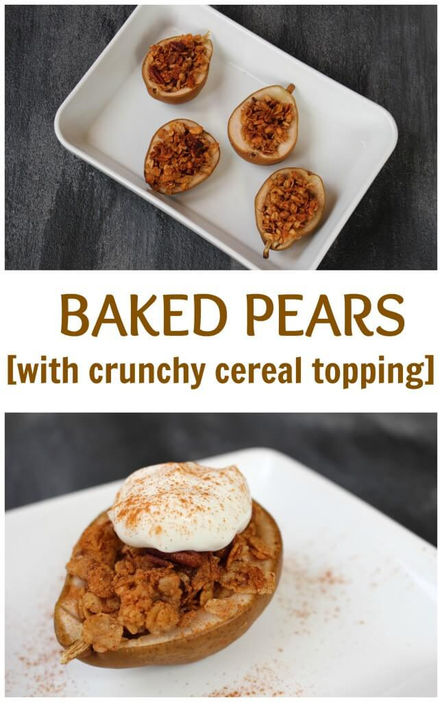 Baked pears with crunchy topping is a mix of great flavors and textures: pears are baked with a whole grain cereal and topped off with yogurt.