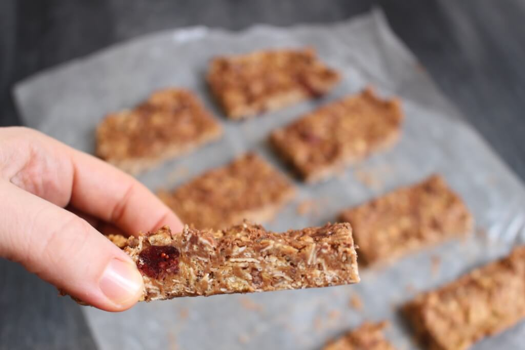 These peanut butter granola bars require no-baking and can be made with any fruit, nut, or chocolate mix-in. Just be sure to keep the peanut butter oatmeal base the same!
