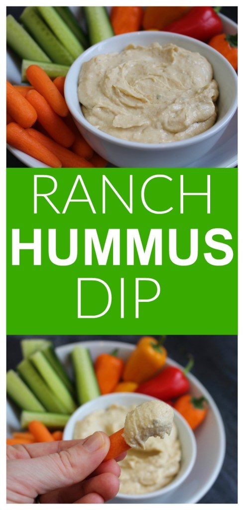 Get your kids dipping with this protein-packed Ranch Hummus Dip. It's creamy and delicious, and ready in less than 5 minutes! #ranchhummusdip #ranchhummus #healthyranchdip #proteinpackeddip #easyappetizerrecipes #easydips #kidfriendlyrecipes