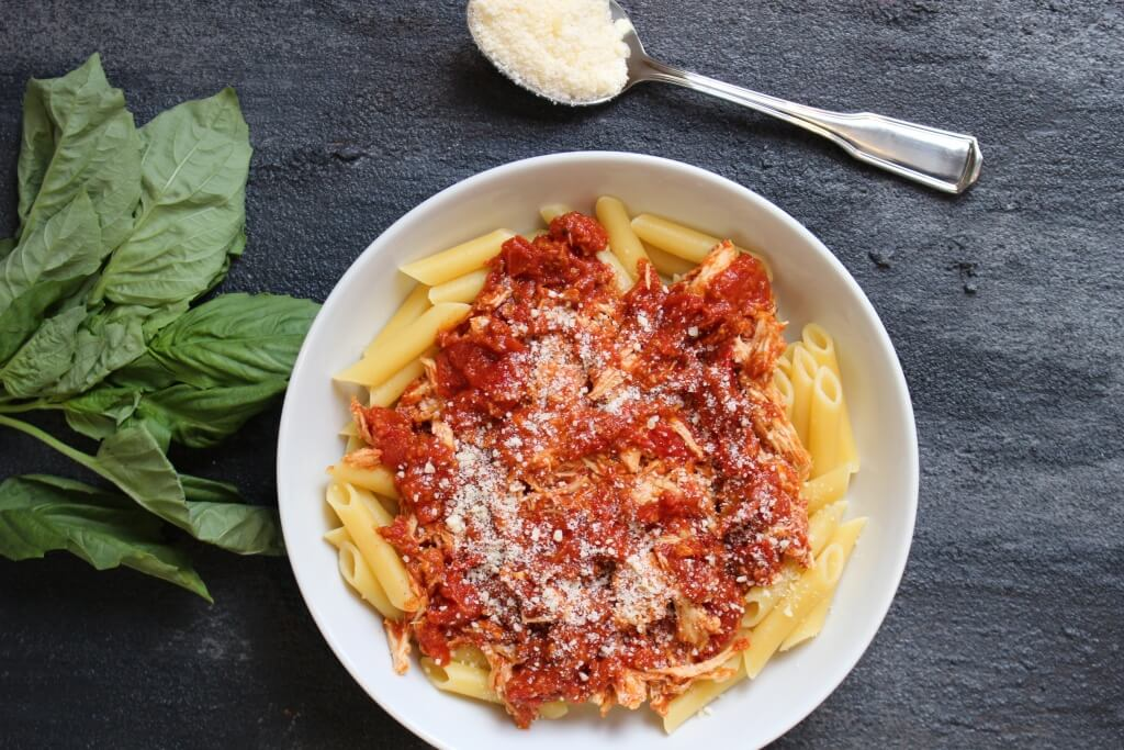 Chicken Parmesan Pasta is a heart-healthy twist on the classic Italian-American dish. Simply skip the breading and frying in oil step, and serve up with a big bowl of whole wheat pasta!