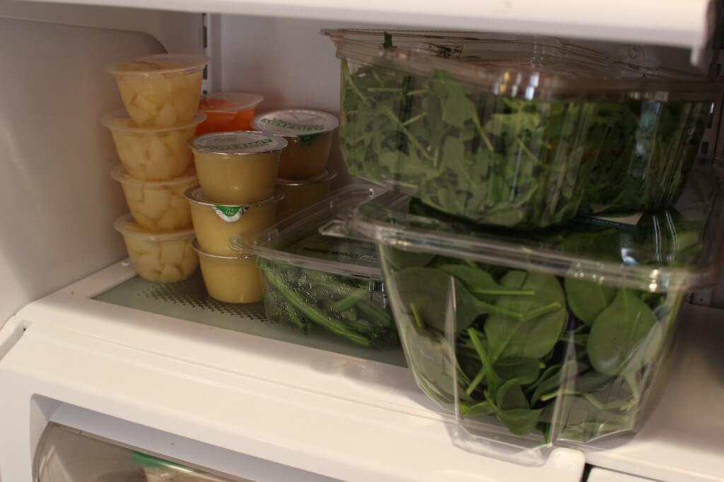 The spot in our fridge for the healthy foods that do not need prepping! Not pictured: All our dairy foods! Such as milk, shredded cheese, cottage cheese, and yogurt.