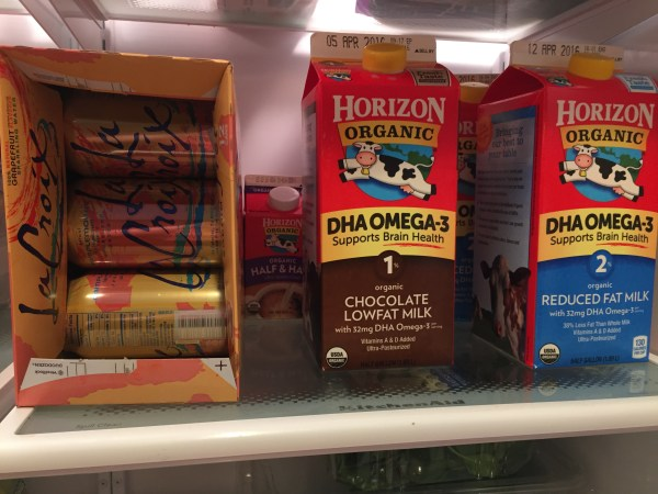 A look at the beverages in our fridge. Not pictured: my flavored coffee creamer that definitely is my sugar-vice!