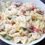 Chickpea Pasta Salad is a fresh and flavorful dish packed with protein, chopped veggies, and whole grain pasta.