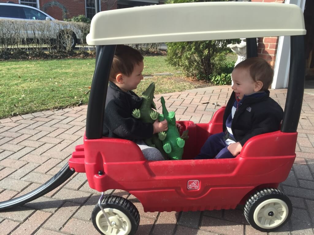 I'm also staying active by taking these boys for walks in the wagon, double stroller, and playing games like soccer or tag in the backyard!