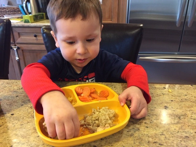 The guys enjoyed Trader Joe's Orange Chicken, cauliflower rice [I sautéed beforehand so Ted just had to reheat], and crinkle cut carrots I had steamed ahead of time too.