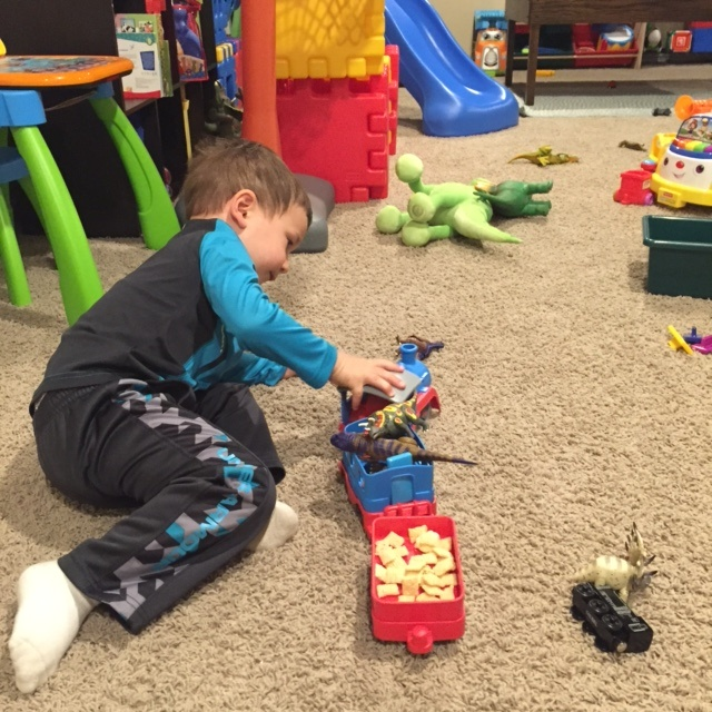 Sometimes the boys aren't hungry for a snack. So then the snack becomes part of playtime!