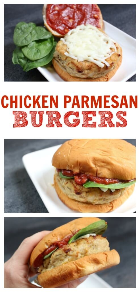 Change-up your weekly burger routine with these ground chicken parmesan burgers. Grill then serve with homemade marinara sauce and mozzarella cheese.