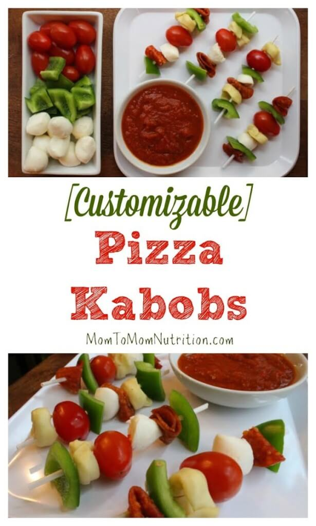 Pizza Kabobs make the perfect kid-friendly, customizable meal! Just take your favorite pizza toppings, skewer, and voila! You have a no-bake pizza option!