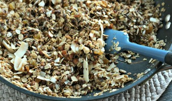 Skillet Granola gives you the flavor and taste of homemade granola in just about 5 minutes without turning on the oven!