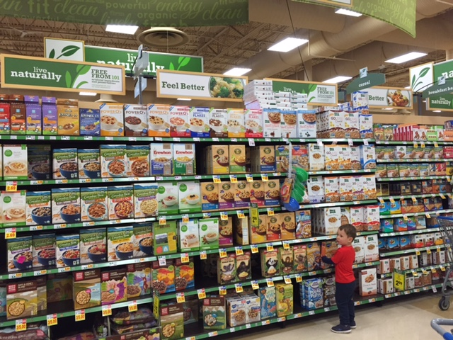 Joey's favorite aisle.... the natural and organics section [with cereal, of course].