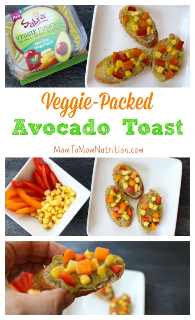 Veggie-packed Avocado Toast makes one simple breakfast or snack. Toast, top, and enjoy in less than 5 minutes from start to finish. #avocadotoast #easyappetizers #easysnackrecipe #healthysnacks #kidfriendlyrecipes #kidfriendlysnacks