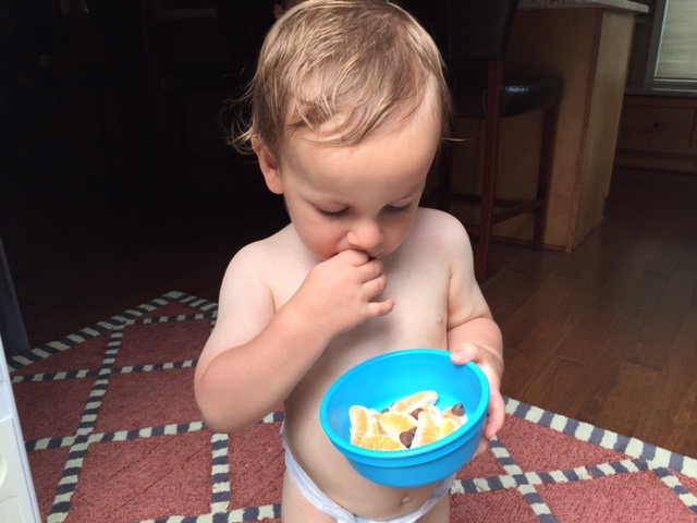 Had to slide a baby pic in here... he's munching on clementine pieces + chocolate chips. Lucky boy!