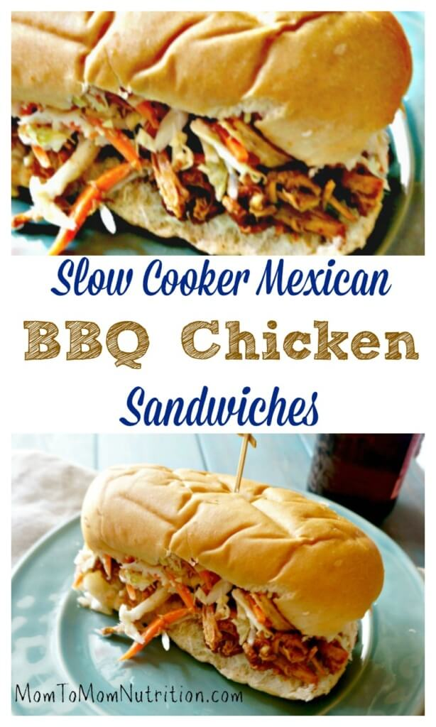 Slow Cooker Mexican BBQ Chicken Sandwiches: 3 unlikely ingredients come together with almost no prep to create one out of this world slow cooker meal!