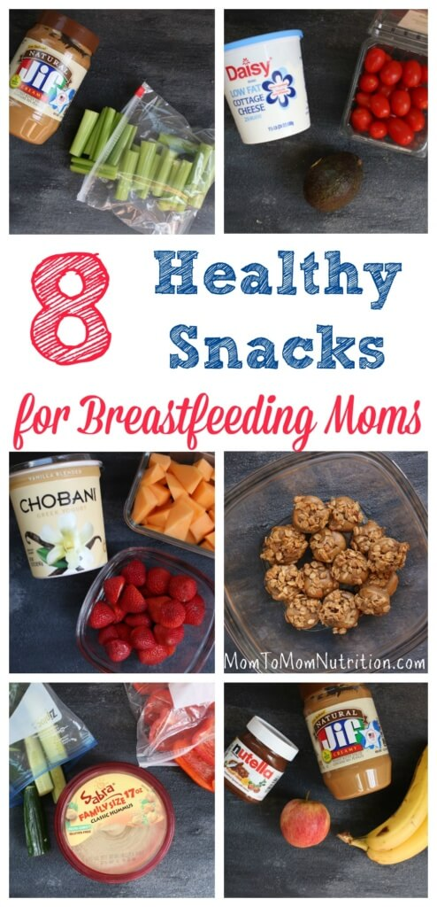 A list of healthy snacks for breastfeeding moms that help to keep mom's nutrition and energy at an all-time high no matter what time of day she's nursing!