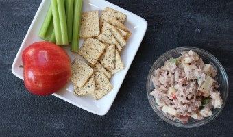Canned tuna is given fresh flavor with fresh apples, celery, and Greek yogurt dressing! Apple tuna salad is delicious on whole wheat bread or fresh lettuce greens.