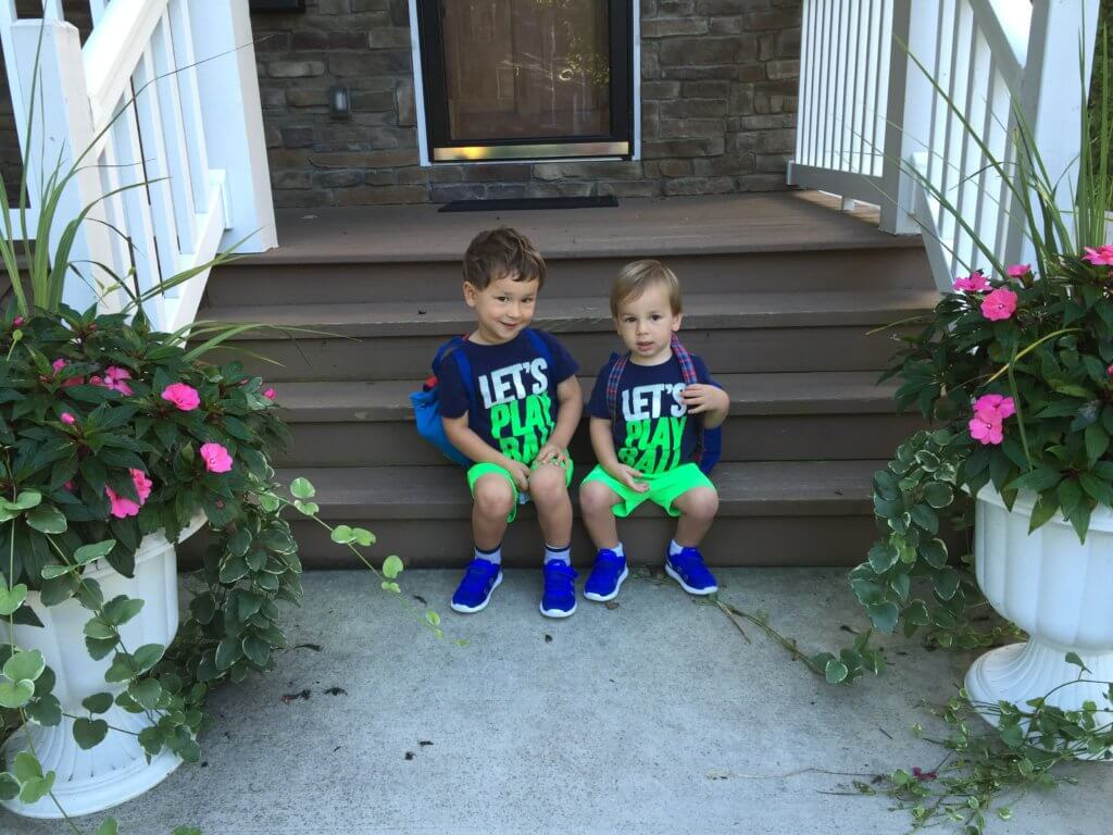 "Here are the boys on the first day of the ""Mom's Day Out"" program!! All smiles until Mom dropped them off..."