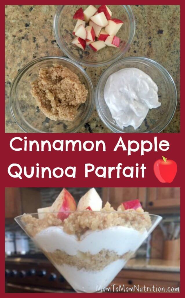 Layers of cinnamon spiced quinoa, yogurt, and apples make this quinoa parfait the perfect healthy breakfast, snack, or sweet treat.