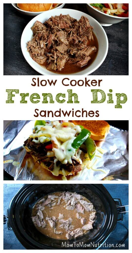 French Dip Sandwiches get a healthy makeover with extra veggies and a low-sodium dipping sauce. Plus, this easy-to-follow recipe is made with the help of your slow cooker!