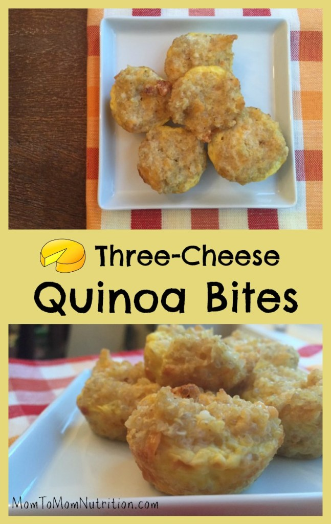 Three-Cheese Quinoa Bites are a quick and healthy kid-friendly food that are packed with protein from the quinoa, cheese, and egg.