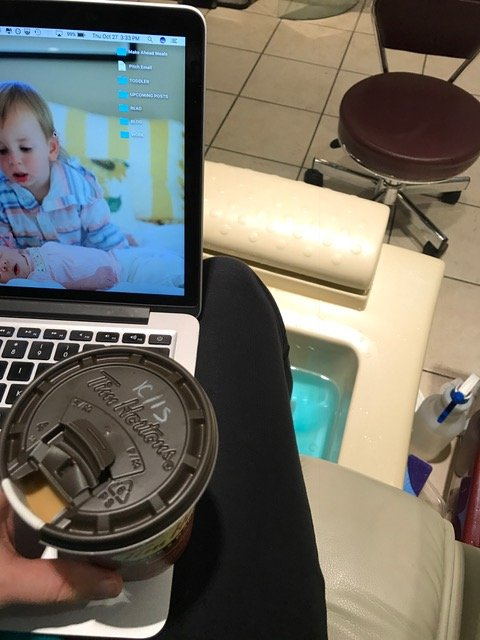 It's not just finding clothes that I feel good in, it's doing things I feel good doing! Like getting a pedicure with a hot cup of coffee! And my computer... because I love to write!