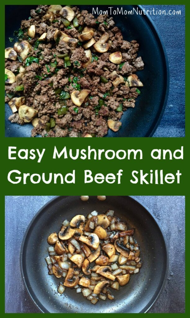 This mushroom and ground beef skillet is an easy weeknight dinner that is delicious as-is, or served on top of baked potatoes, brown rice, or quinoa.