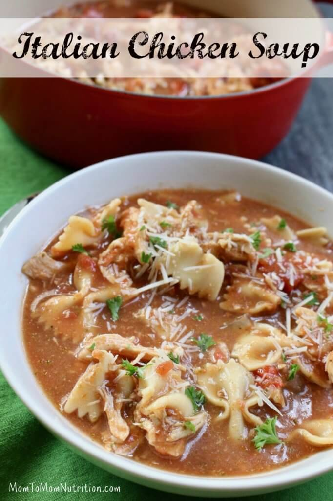 Italian Chicken Soup is a yummy, hearty, chicken soup with Italian flavor! It's just like the classic chicken noodle with tomatoes, pesto, and lots of cheese!