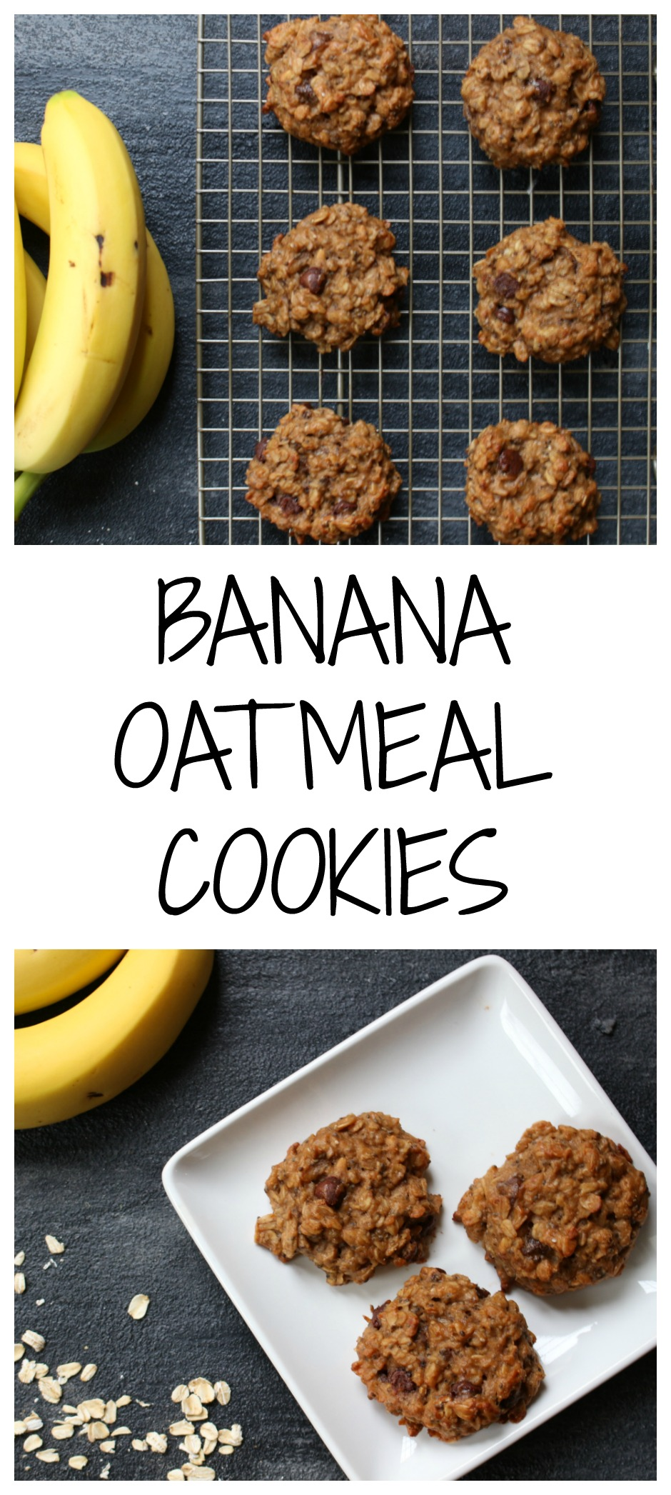 Banana oatmeal cookies make a perfect breakfast on-the-go or after school snack, and are the perfect way to use ripe bananas!