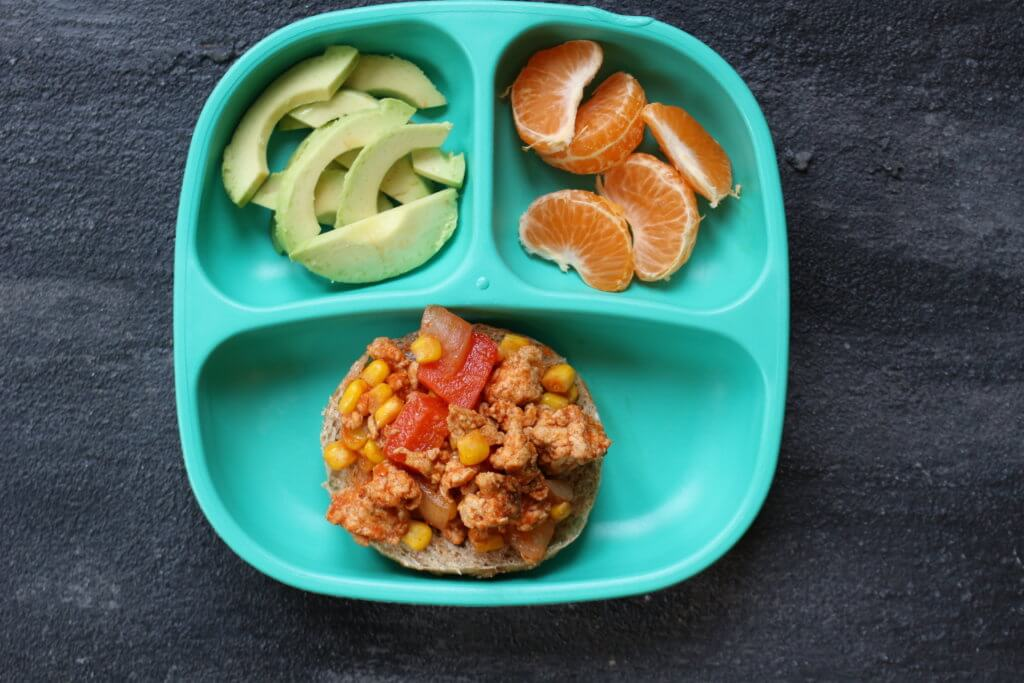 A twist on the traditional sloppy joe, made with lean ground turkey, Mexican spices, and topped with fresh avocado slices.