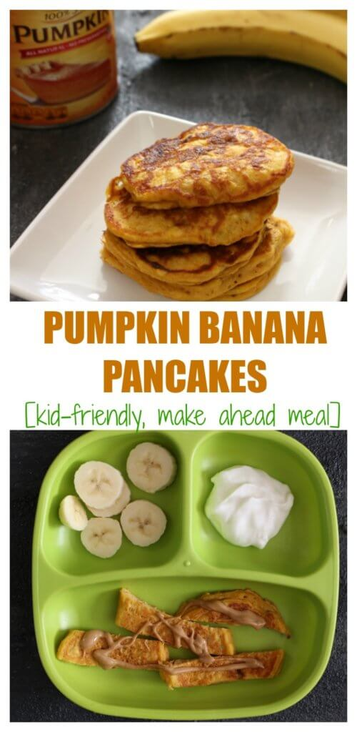 Pumpkin banana pancakes make a delicious grab n' go breakfast or perfect hand-held, nutritious finger food for babies and toddlers.