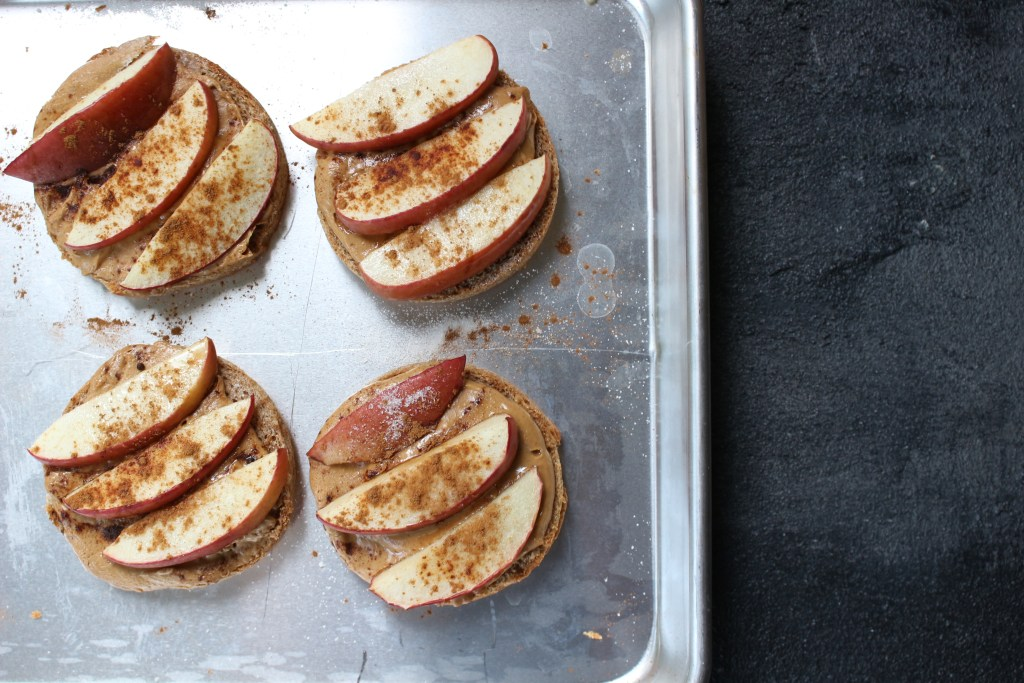 These Apple and Peanut Butter Sandwiches combine the classic flavor combination of Michigan apples and peanut butter, with a little extra fiber from the whole grain English Muffin.