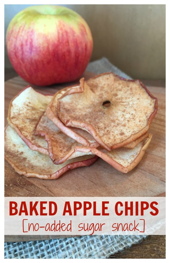 Baked apple chips make a nutritious and crunchy snack. All you need is two-ingredients, then slice, sprinkle with cinnamon, and bake!