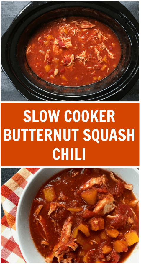 This butternut squash chili recipe is made with chicken breasts, butternut squash, and classic chili seasonings, which come together to make one hearty and delicious weeknight meal!
