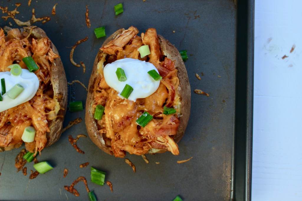 BBQ Chicken Stuffed Baked Potatoes bring together tender bites of chicken mixed with one fluffy baked potato for a simple weeknight meal.