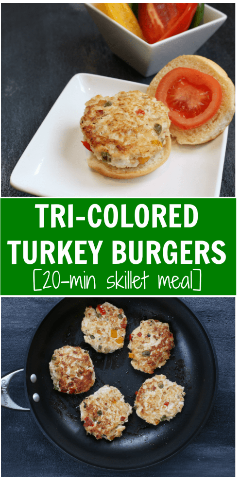 These Tri-Colored Turkey Burgers are a lean, nutrient-packed burger loaded with lots of flavor and color. They make a perfect weeknight grill or skillet meal!
