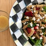 Strawberry Spinach Pasta Salad with Orange Dressing