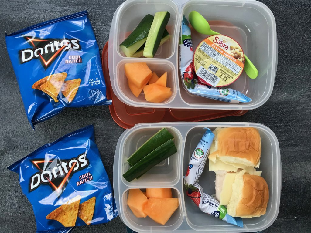 Print this FREE school lunch cheat sheet or save to your school lunch Pinterest board for a quick reference as to what and how much your child should be eating during the school day!