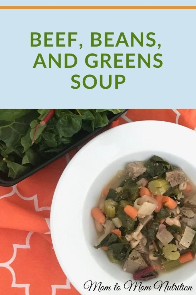 Celebrate strength, wealth, and health in the new year with Beef, Beans, and Greens Soup. Packed with nutrition and made with the ease of leftover beef roast. #healthybeefsoup #beansandgreenssoup #healthysoupwithgroundbeef #soupwithgroundbeef #mealpreprecipes #familymealrecipes #kidfriendlyrecipes