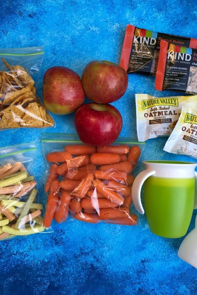 Snacks for summer in baggies on a table.