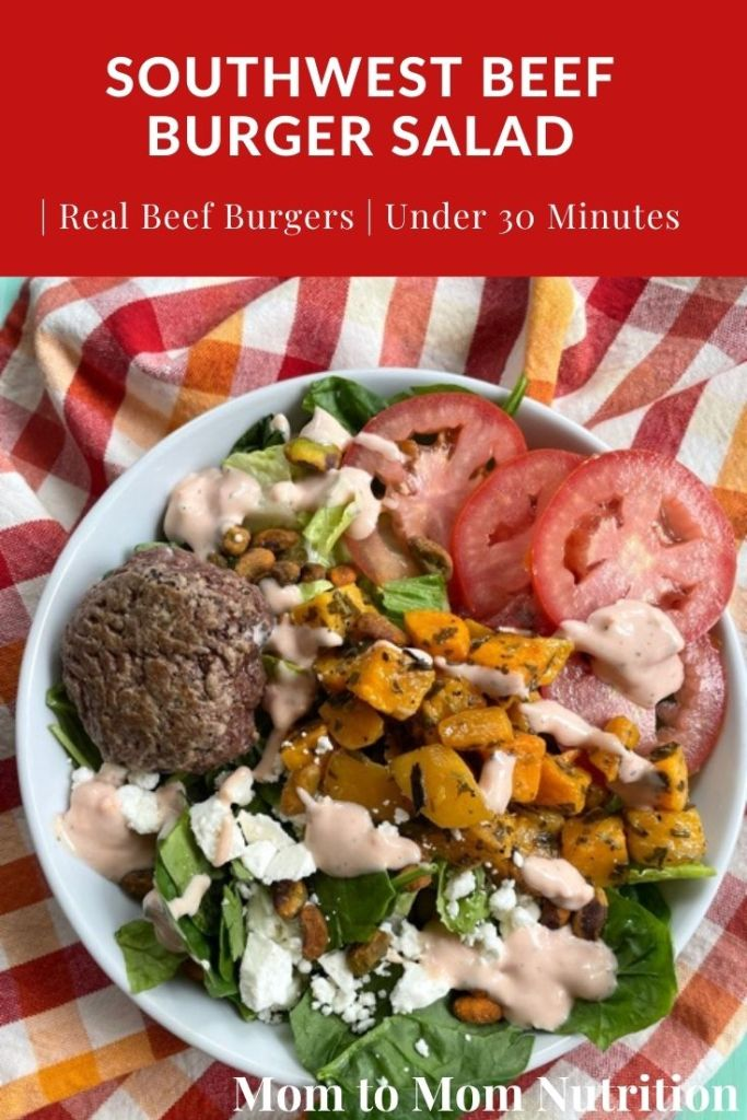 This Southwest Beef Burger Salad brings flavor and nutrition together in a veggie-centric, protein-packed salad that combines leftover grilled beef burgers with leafy greens and crunchy toppings.