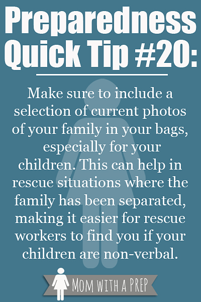 PQT #20: Keep photos handy of you and your children in your bags or pockets for easy identification in case you are separated. Read more at Momwithaprep.com