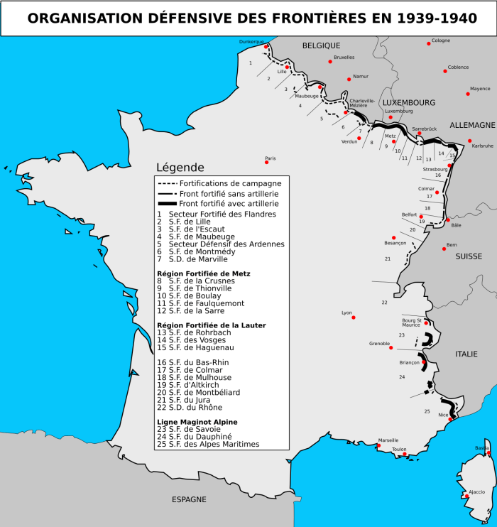 Carte de la Ligne Maginot © Duomaxw - licence [CC BY-SA 2.0 fr] from Wikimedia Commons