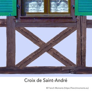 Allège d'une fenêtre. Croix de Saint-André, maison alsacienne © French Moments