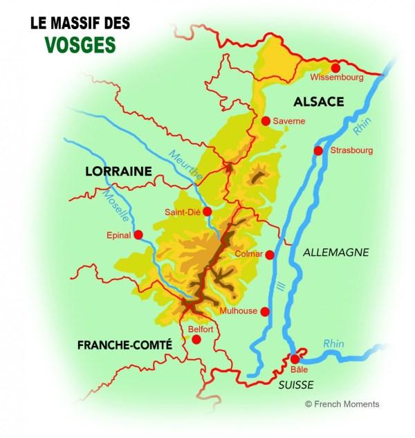 Carte du Massif des Vosges © French Moments