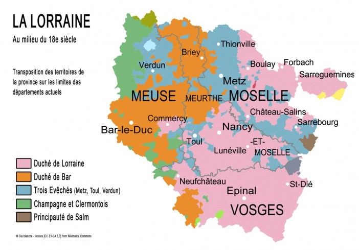 Carte de la Province Lorraine © Oie blanche - licence [CC BY-SA 3.0] from Wikimedia Commons