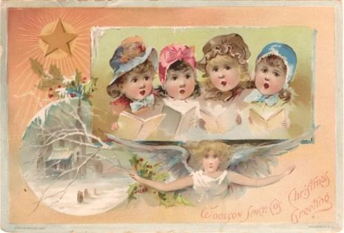 Christmas carols sur une carte de vœux
