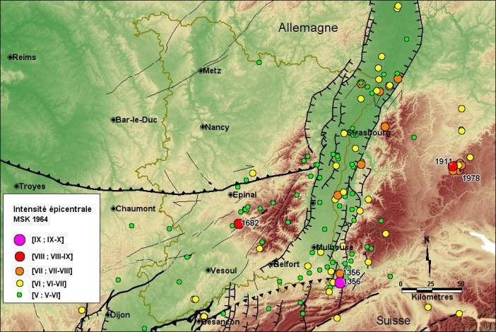 Séismes enregistrés dans le Rhin Supérieur (source Rutsch.eu)